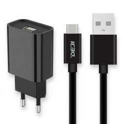 Deji USB to Type-C Şarj Aleti 2.1A + Usb Kablo Siyah - Thumbnail