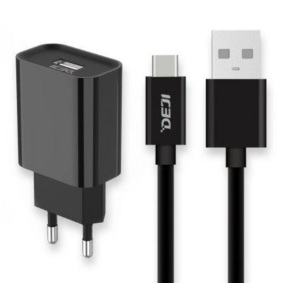 Deji USB to Type-C Şarj Aleti 2.1A + Usb Kablo Siyah