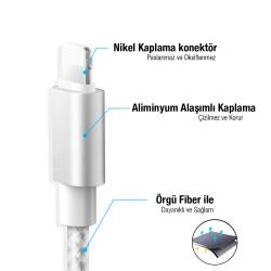 iPhone Şarj Kablosu (Gri) - Üstün Deji Kalitesiyle 5/5S/6/6S/7/7Plus/8/8Plus/X - Thumbnail