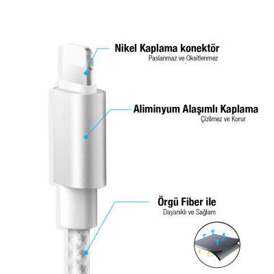 iPhone Şarj Kablosu (Gri) - Üstün Deji Kalitesiyle 5/5S/6/6S/7/7Plus/8/8Plus/X